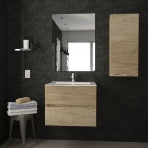 Conjunto Mueble de Baño BERK 60 cm con lavabo cerámico y espejo Luna