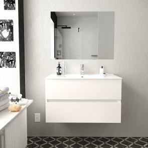 Conjunto Mueble de Baño BERK 80 cm con lavabo cerámico y espejo Luna