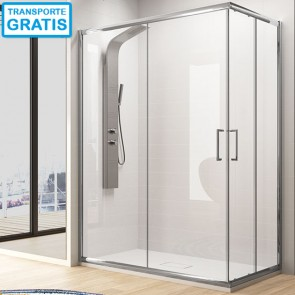 Mampara de ducha angular BEL-LA Kassandra. Apertura esquina. Frontal más lateral.