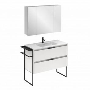 Mueble de baño KEIKO de 100 cm con 2 cajones BLANCO BRILLO con lavabo