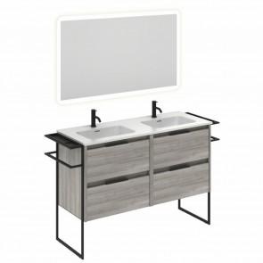Mueble de baño KEIKO de 120 cm con 4 cajones GRIS ARENADO con espejo Hoshi y lavabo