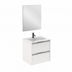 Mueble de baño SUKI de 60 cm con 2 cajones BLANCO BRILLO con lavabo
