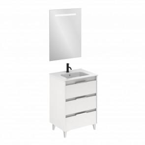 Mueble de baño SUKI de 60 cm con 3 cajones BLANCO BRILLO con lavabo