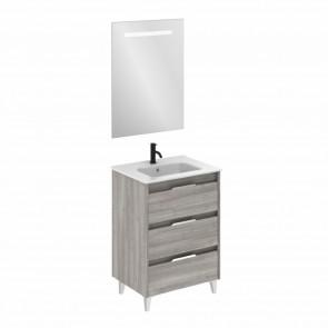 Mueble de baño SUKI de 60 cm con 3 cajones GRIS ARENADO con lavabo