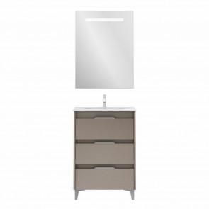 Mueble de baño SUKI de 60 cm con 3 cajones FUMÉ ARENADO con lavabo