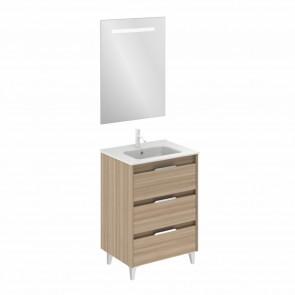 Mueble de baño SUKI de 60 cm con 3 cajones NOGAL ARENADO con lavabo