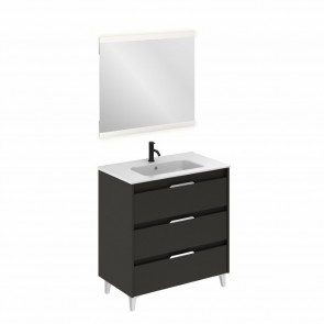 Mueble de baño SUKI de 80 cm con 3 cajones ANTRACITA BRILLO con lavabo