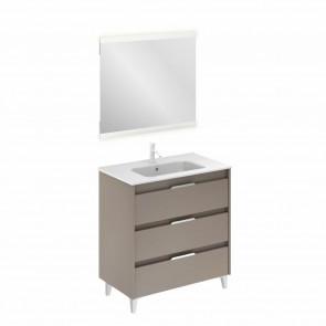 Mueble de baño SUKI de 80 cm con 3 cajones FUMÉ ARENADO con lavabo