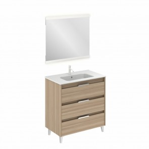 Mueble de baño SUKI de 80 cm con 3 cajones NOGAL ARENADO con espejo Hikari y lavabo