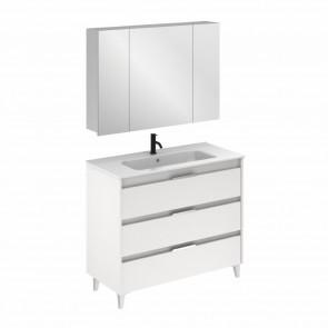 Mueble de baño SUKI de 100 cm con 3 cajones BLANCO BRILLO con lavabo
