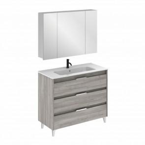 Mueble de baño SUKI de 100 cm con 3 cajones GRIS ARENADO con lavabo