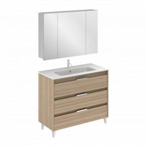 Mueble de baño SUKI de 100 cm con 3 cajones NOGAL ARENADO con lavabo