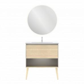 Mueble de baño NARA de 80 cm con 1 cajón y 1 hueco BLANCO MATE Y ROBLE ARENADO con espejo Nozomi y lavabo