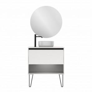 Mueble de baño YOKO TOP de 80 cm con 1 cajón y 1 hueco BLANCO BRILLO con espejo Miku y lavabo