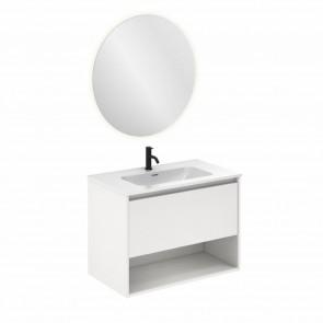 Mueble de baño NIWA de 80 cm con 1 cajón y 1 hueco BLANCO BRILLO con espejo Nozomi y lavabo