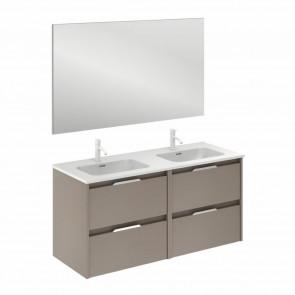 Mueble de baño SUKI de 120 cm con 4 cajones FUMÉ ARENADO con espejo Kawa y lavabo
