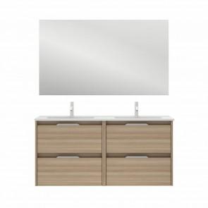 Mueble de baño SUKI de 120 cm con 4 cajones NOGAL ARENADO con lavabo