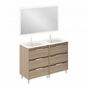 Mueble de baño SUKI de 120 cm con 6 cajones NOGAL ARENADO con lavabo