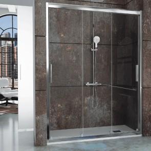 Mampara de ducha frontal CITY CT101 Kassandra. Frente con 3 puertas correderas. Decorado Clio