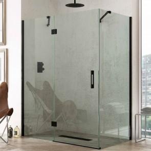 Mampara acero INOX angular CURAÇAO GlassInox. Frontal de puerta Abatible mas fijo lateral