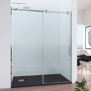 Mampara acero INOX y aluminio frontal de ducha corredera DA VINCI GlassInox. Frente fijo más puerta corredera. A MEDIDA.