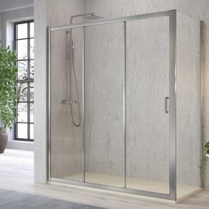 Mampara de ducha frontal DIANA DI101 de Kassandra. Frente fijo más dos puertas correderas
