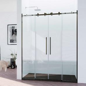 Mampara acero INOX y aluminio frontal de ducha DONATELLO GlassInox. Frente dos fijos más dos puertas correderas. A MEDIDA.