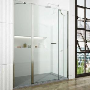 Mampara de ducha frontal abatible DUERO SONIA GlassInox. Dos fijos más una puerta abatible central