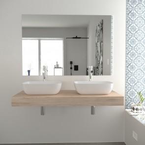 Conjunto encimera F10 120 o 140 cm con  dos lavabos cerámicos, espejo y sifones