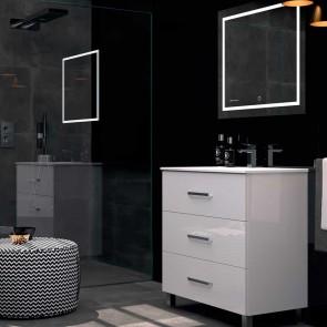 Mueble de baño FUJI Duplach 3 cajones con LAVABO blanco brillo