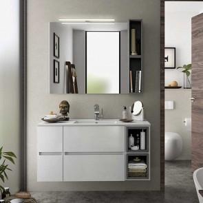 Mueble de baño MODULAR FUSSION LINE Salgar 2 cajones de 110 cm (25+60+25) con LAVABO desplazado