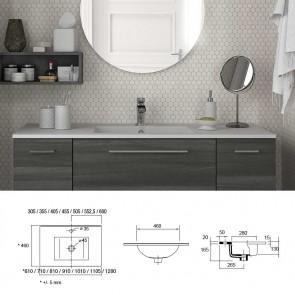 Lavabo porcelana IBERIA 1105 Centrado Salgar 1105x20x460 mm blanco 20745