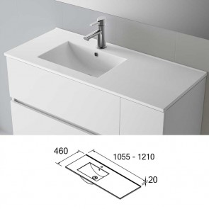 Lavabo porcelana IBERIA 1055 izquierda Salgar 1055x20x460 mm blanco 21092