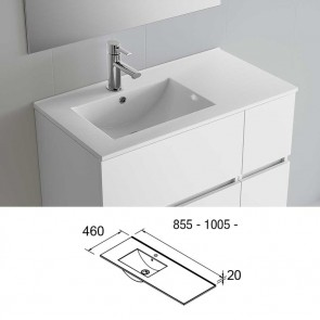 Lavabo porcelana IBERIA 1005 izquierda Salgar 1005x20x460 mm blanco 20744