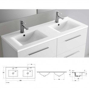 Lavabo doble porcelana IBERIA 1200x20x460 mm blanco 15459