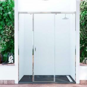 Mampara acero INOX frontal de ducha corredera JONICO GlassInox. Puerta corredera y dos fijos. A MEDIDA.