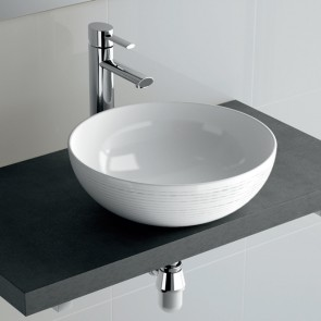 Lavabo porcelana SEDUCTION Salgar 390x150 sobre encimera blanco 21854
