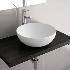 Lavabo Solid Surface BOL de Salgar 390x140 sobre encimera blanco mate 26536