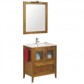 Mueble de baño rústico Leon 60 cm con lavabo