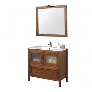 Mueble de baño rústico Leon 90 cm con lavabo