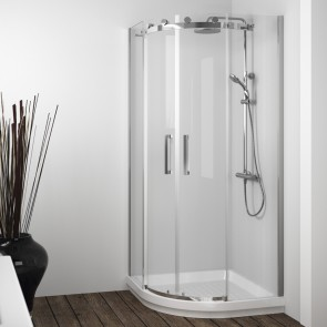 Mampara de ducha semicircular LIBERTY LI130 de Kassandra. Dos puertas correderas.