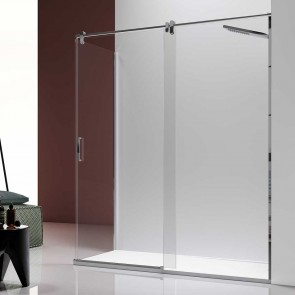 Mampara de ducha angular SLIM LM102-103 de Kassandra en Acero Inox. Frontal de puerta corredera mas fijo lateral