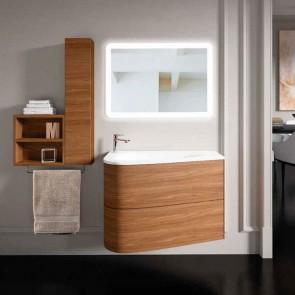 Mueble de baño LOOP Inve 90 cm nogal lacado 2 cajones con LAVABO