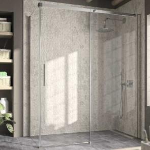 Mampara de ducha angular LUNA LU102 LU103 Kassandra. Frontal con 1 puerta corredera y lateral fijo