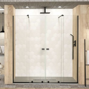 Mampara de ducha Becrisa Manhattan Negro  Frontal 2 fijos con 2 puertas correderas