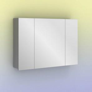 Camerino con espejo MIDORI 98 cm de 3 puertas y dos estanterías en Gris metálico