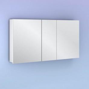 Camerino con espejo MIDORI 117 cm de 3 puertas y dos estanterías en Blanco Brillo