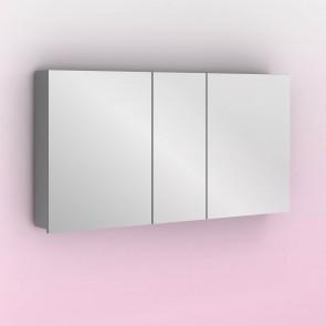 Camerino con espejo MIDORI 117 cm de 3 puertas y dos estanterías en Gris metálico