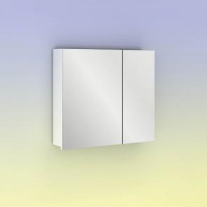 Camerino con espejo MIDORI 70 cm de 2 puertas y dos estanterías en Blanco Brillo