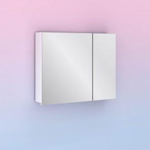 Camerino con espejo MIDORI 78 cm de 2 puertas y dos estanterías en Blanco Brillo